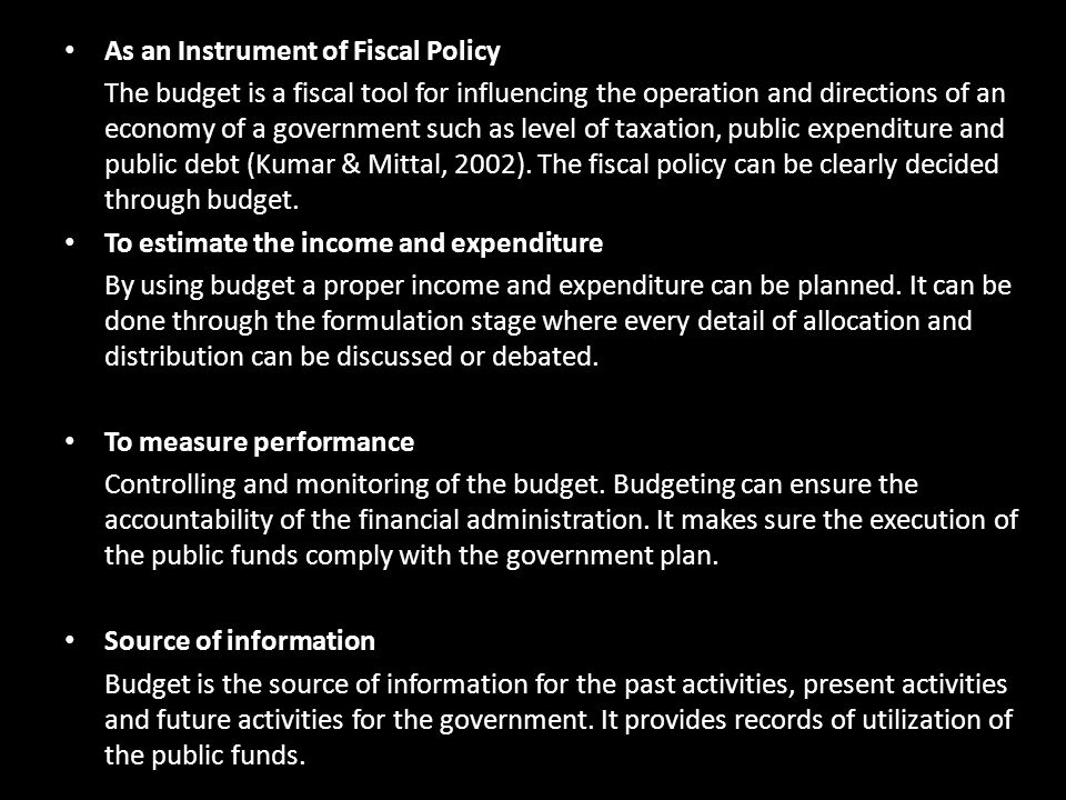 As an Instrument of Fiscal Policy