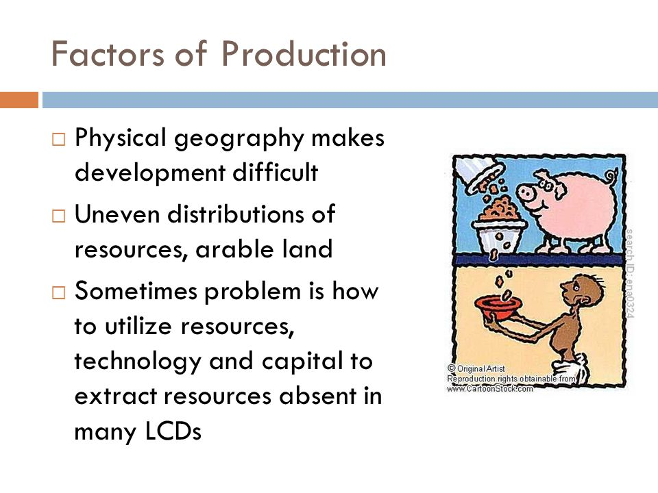 Factors of Production Physical geography makes development difficult