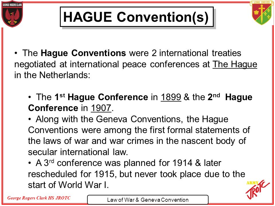 the 1929 geneva convention vs. the hague convention essay Essay on geneva convention 1721 words | 7 pages overstepping the boundaries: a study of the rules established at the 1929 geneva conventions and interpretations in wwii.