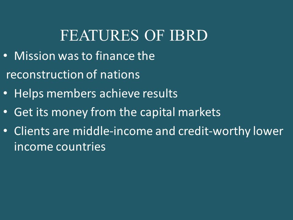 features of ibrd