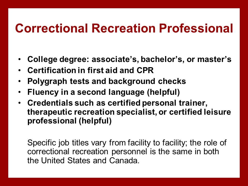 Correctional Recreation Professional