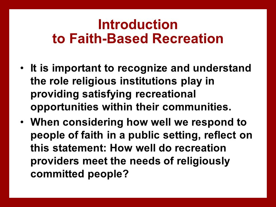 Introduction to Faith-Based Recreation