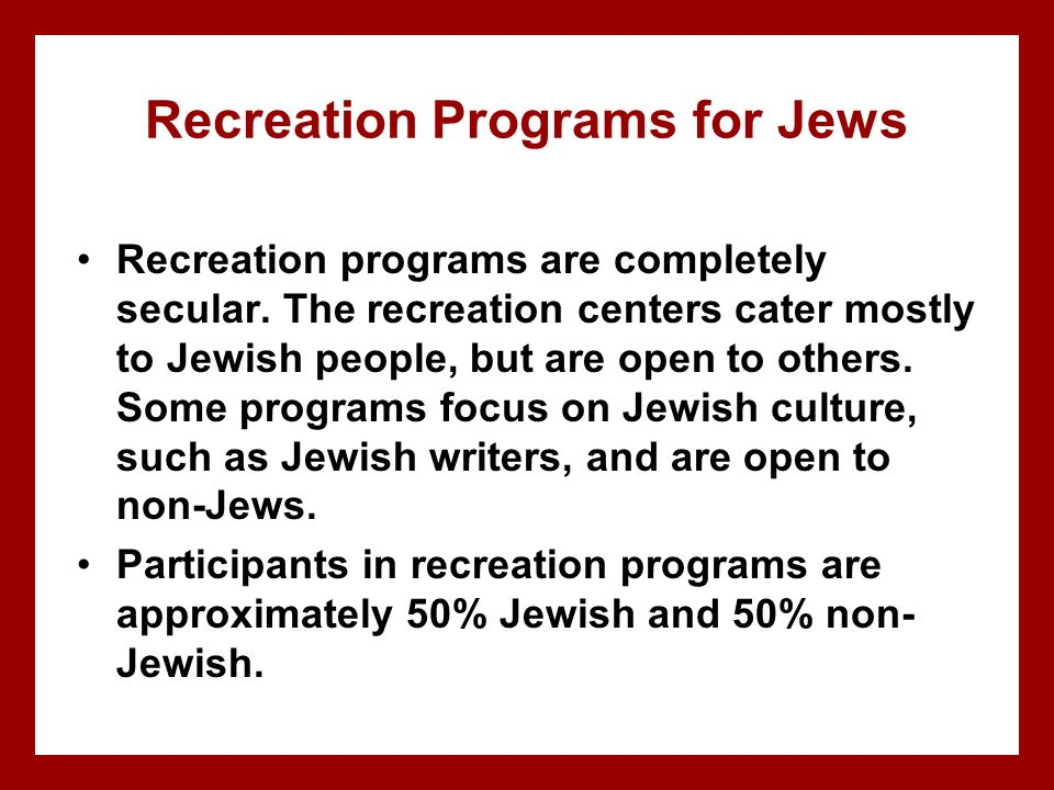 Recreation Programs for Jews