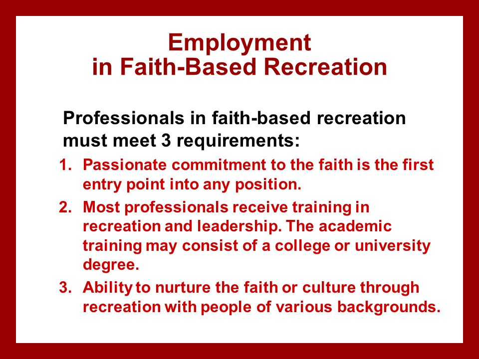 Employment in Faith-Based Recreation