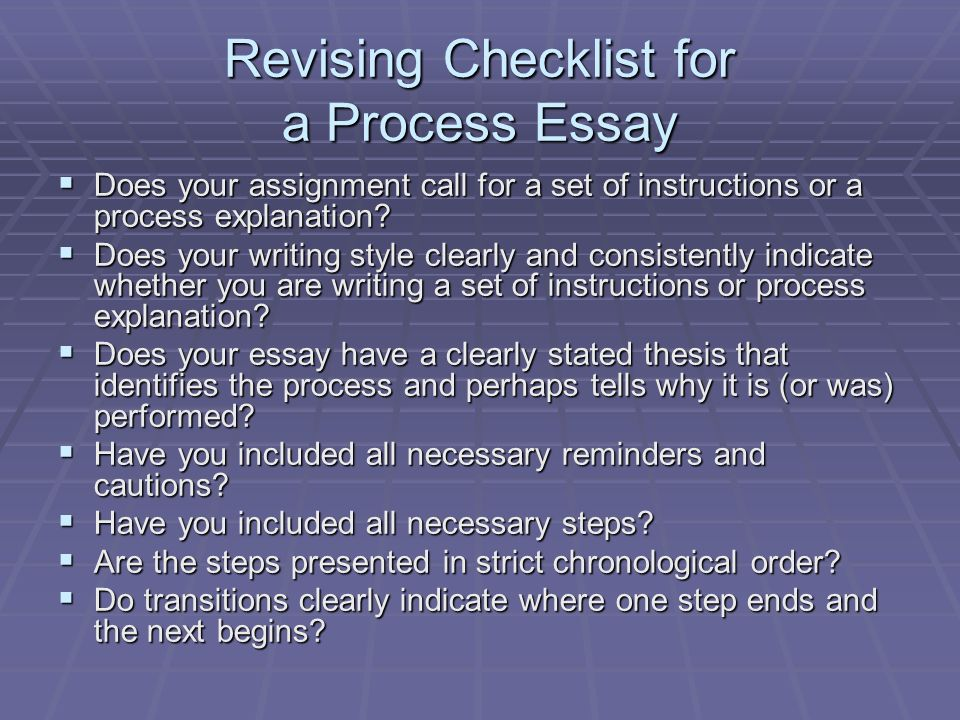 The Process Essay Third Lecture  Ppt Video Online Download Revising Checklist For A Process Essay