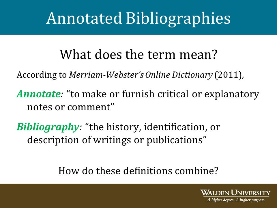 what is the definition of annotated bibliography