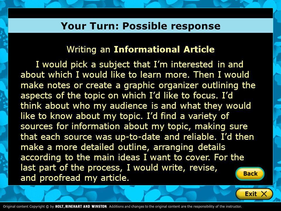 Your Turn: Possible response