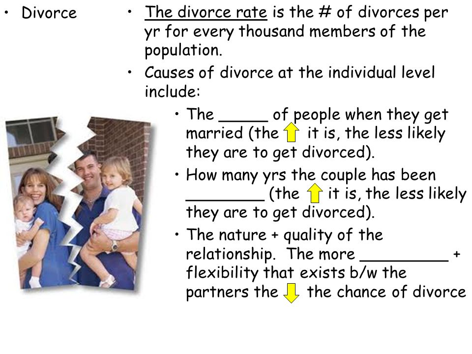 Divorce The divorce rate is the # of divorces per yr for every thousand members of the population.