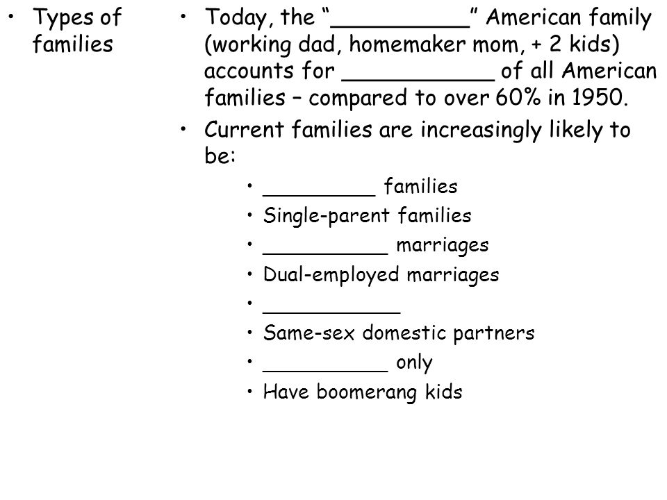 Current families are increasingly likely to be: