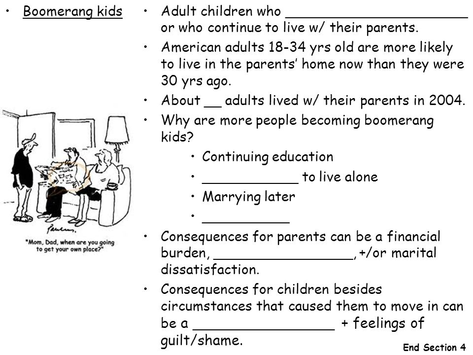 About __ adults lived w/ their parents in
