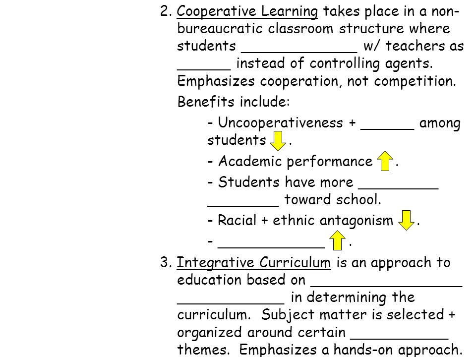 2. Cooperative Learning takes place in a non-