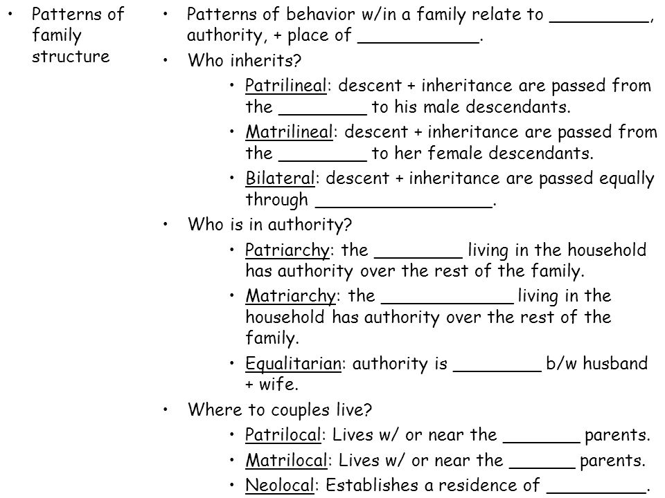 Patterns of family structure