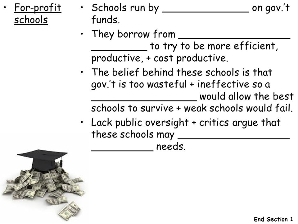 Schools run by ______________ on gov.'t funds.