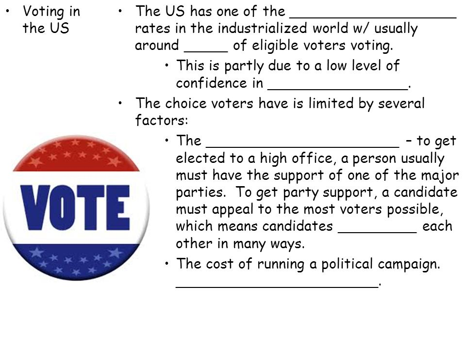 Voting in the US The US has one of the ___________________ rates in the industrialized world w/ usually around _____ of eligible voters voting.
