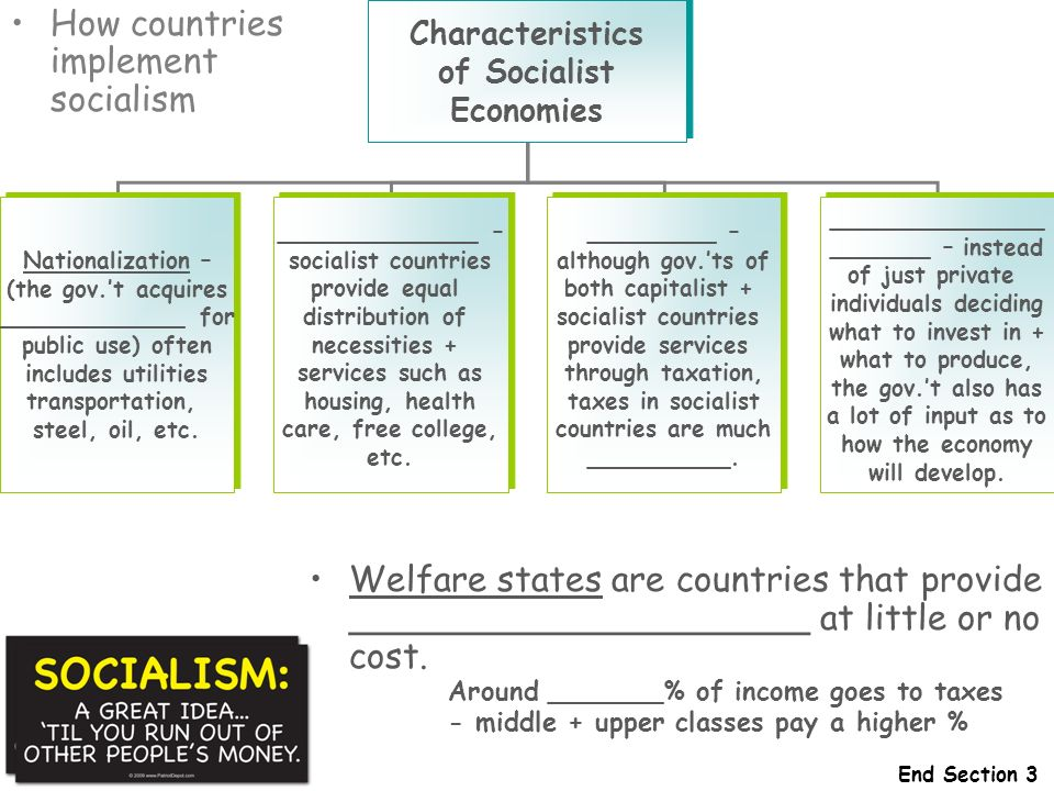 How countries implement socialism