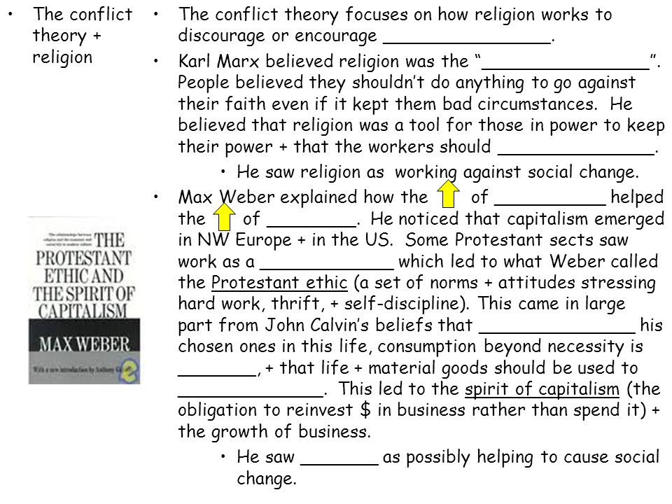 The conflict theory + religion