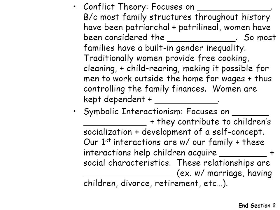 Conflict Theory: Focuses on ______________