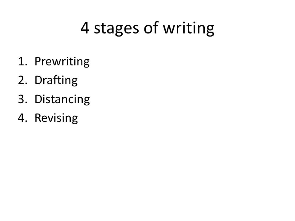 4 stages of writing Prewriting Drafting Distancing Revising