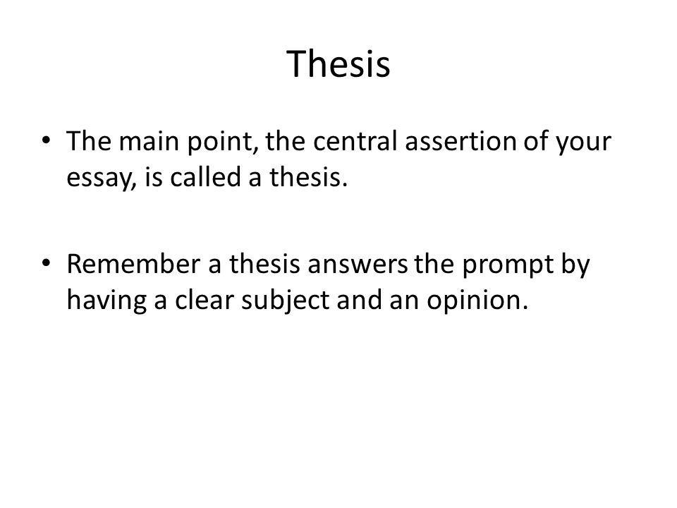 Thesis The main point, the central assertion of your essay, is called a thesis.