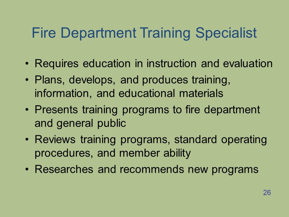 Fire Department Training Specialist