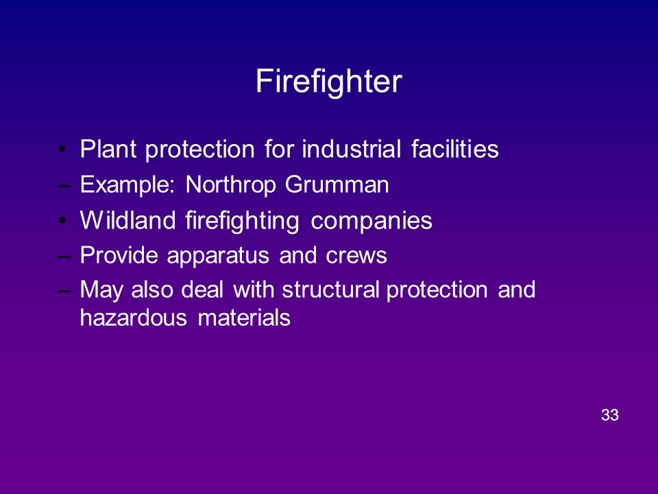 Firefighter Plant protection for industrial facilities
