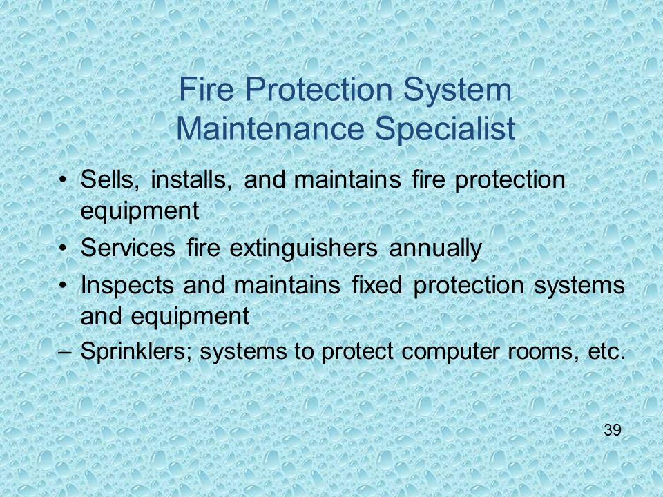 Fire Protection System Maintenance Specialist