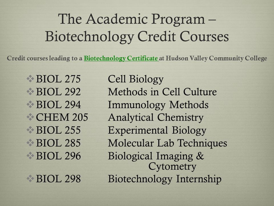 The Biotechnology Program At Hudson Valley Community College Ppt