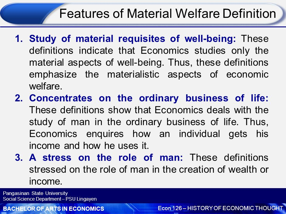 material welfare definition of economics
