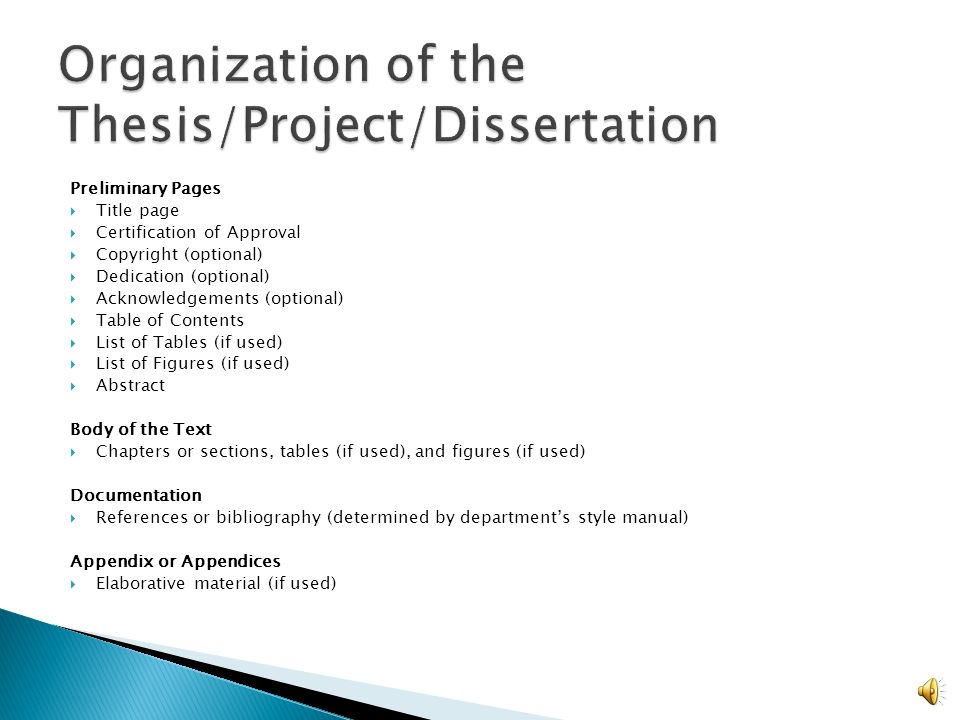 contents of a dissertation