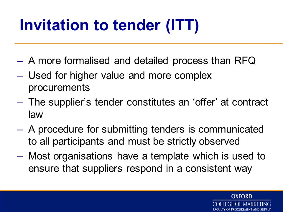 Diploma in procurement supply ppt video online download 11 invitation to tender stopboris Image collections