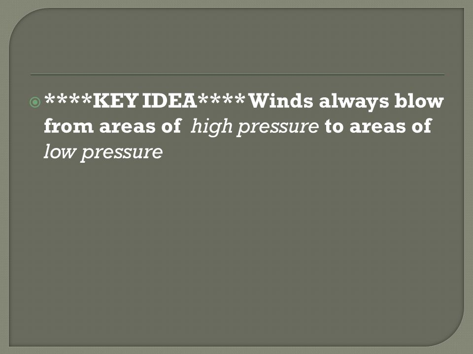 ****KEY IDEA**** Winds always blow from areas of high pressure to areas of low pressure