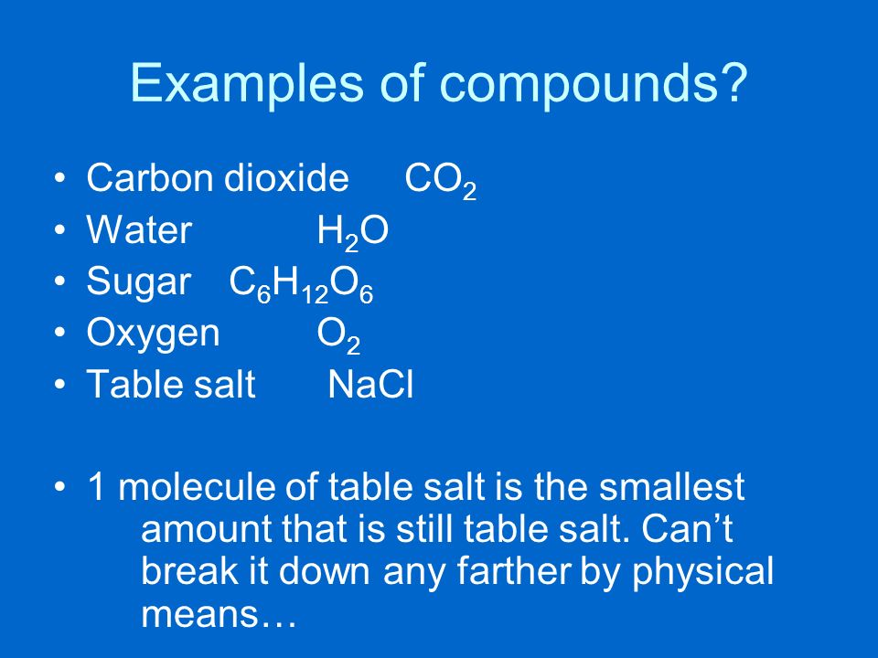 Examples of compounds Carbon dioxide CO2 Water H2O Sugar C6H12O6