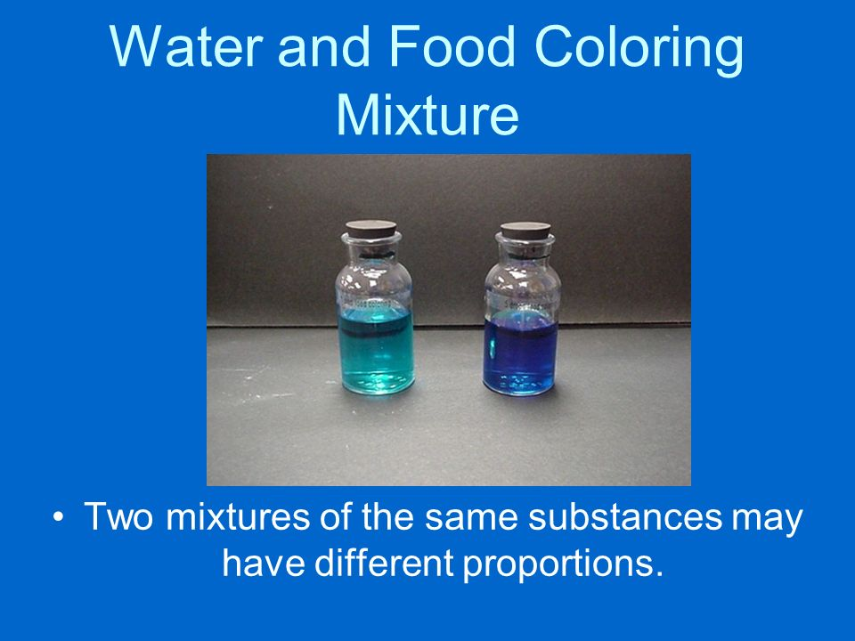 Water and Food Coloring Mixture