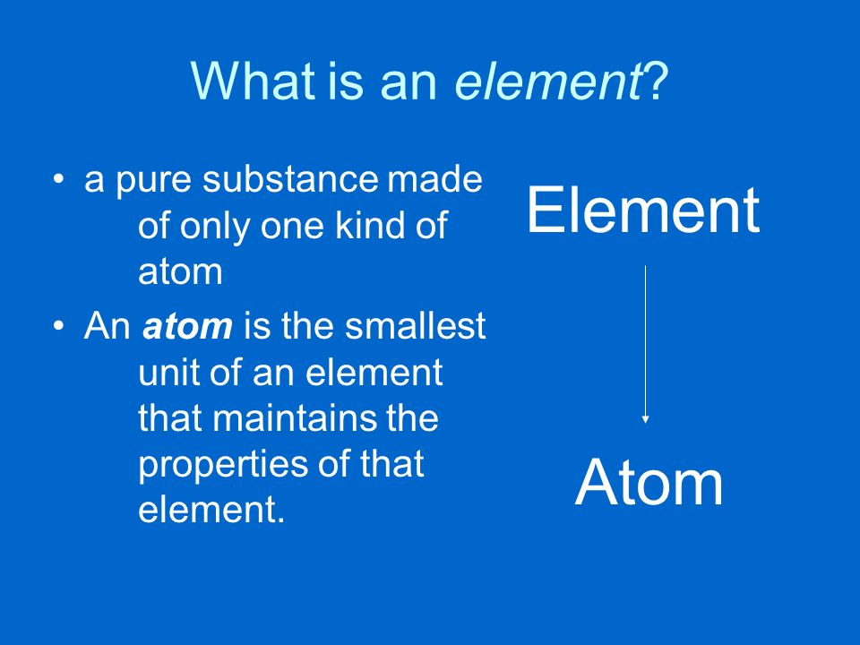 Element Atom What is an element