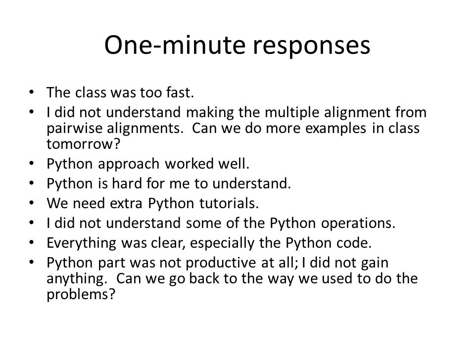 One-minute responses The class was too fast.