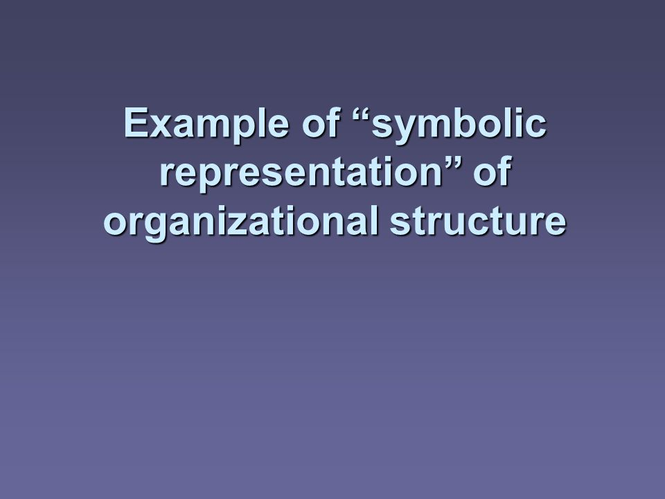 Example of symbolic representation of organizational structure