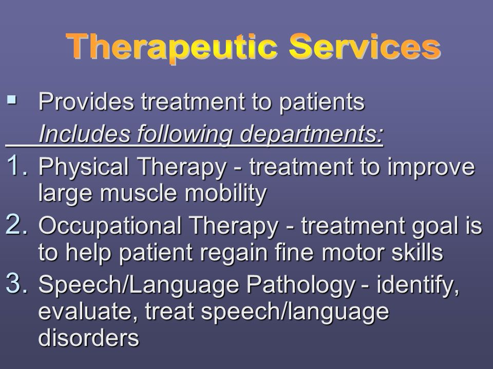 Therapeutic Services Provides treatment to patients