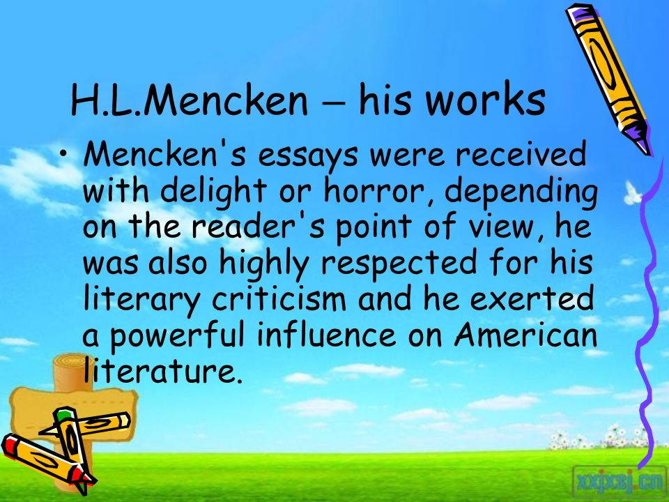 Expository Essay About Education  Hlmencken  High School Personal Statement Essay Examples also Tennessee Williams Essay The Libido For The Ugly Hlmencken  Ppt Download Classification Essay Friends