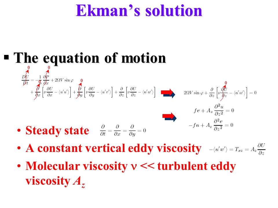 Ekman's solution The equation of motion Steady state