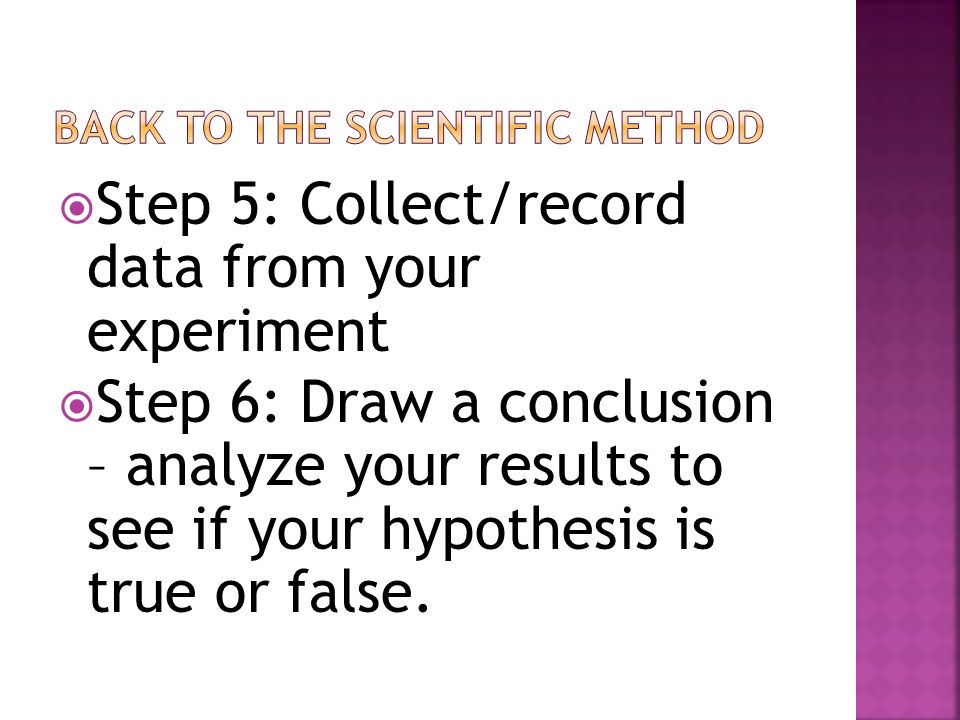 Back to the scientific method