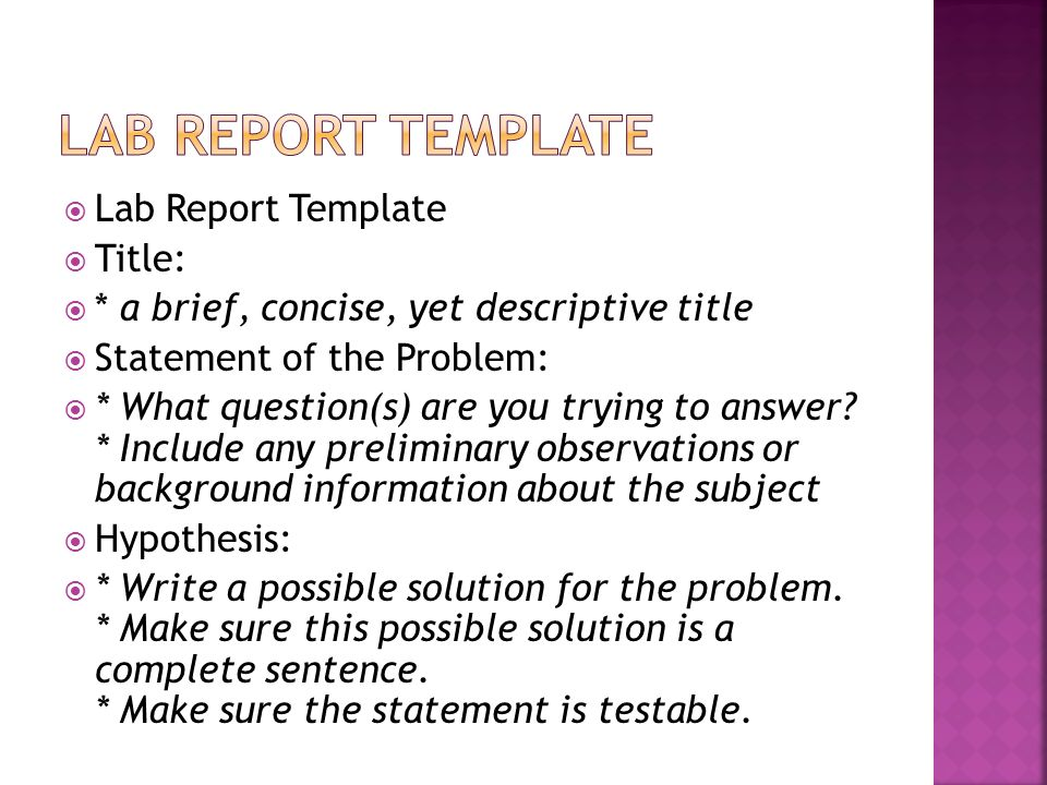 Lab report template Lab Report Template Title: