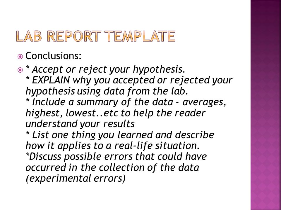 Lab report template Conclusions: