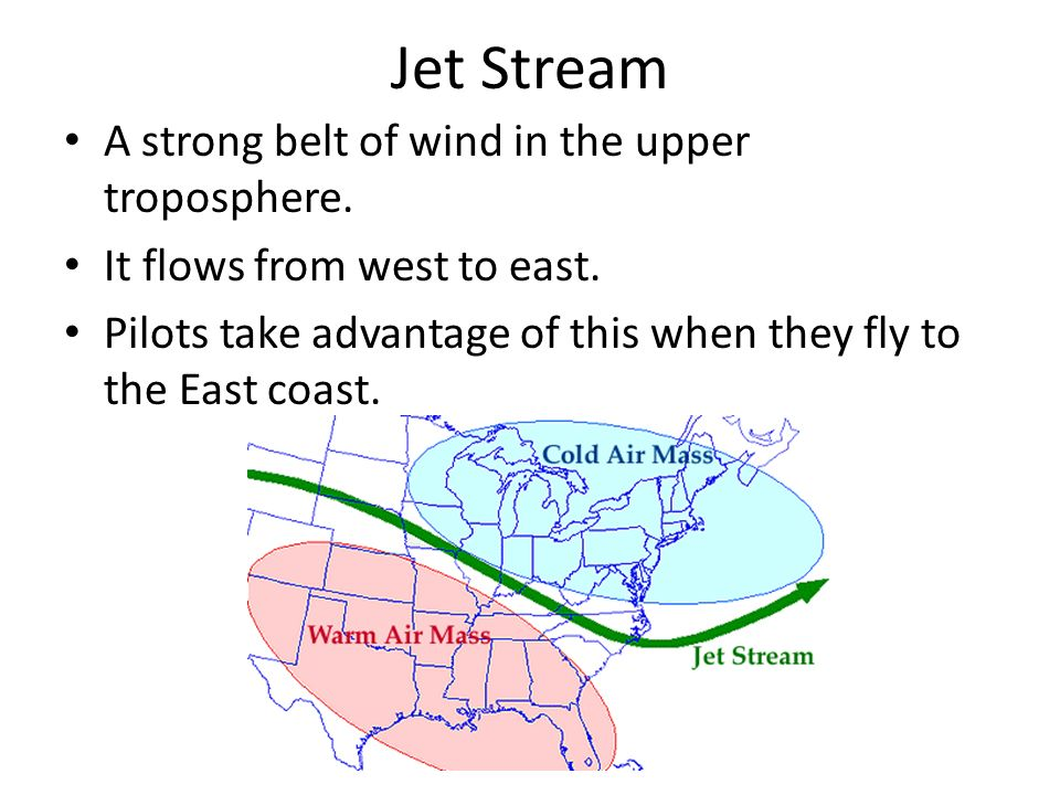 Jet Stream A strong belt of wind in the upper troposphere.