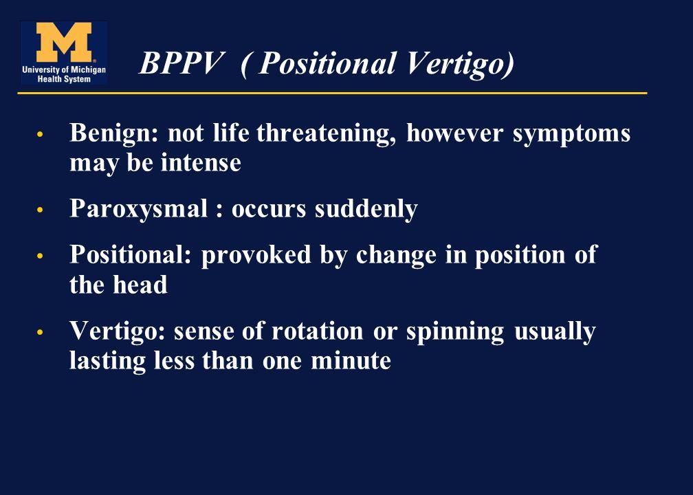 BPPV Benign Paroxysmal Positional Vertigo By Wendy Carender