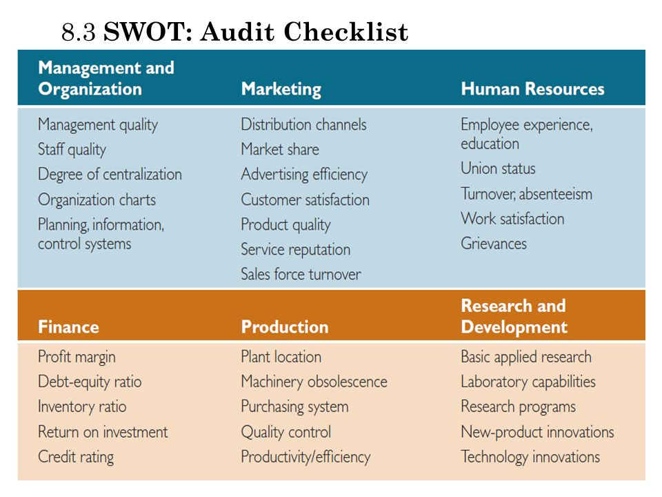 8.3 SWOT: Audit Checklist