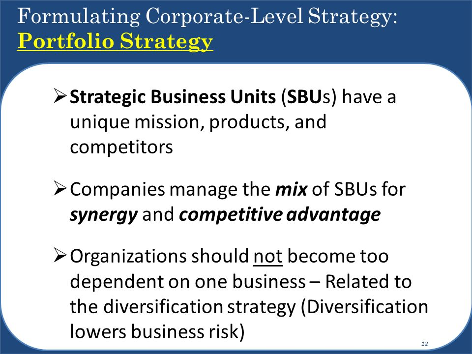 Formulating Corporate-Level Strategy: Portfolio Strategy