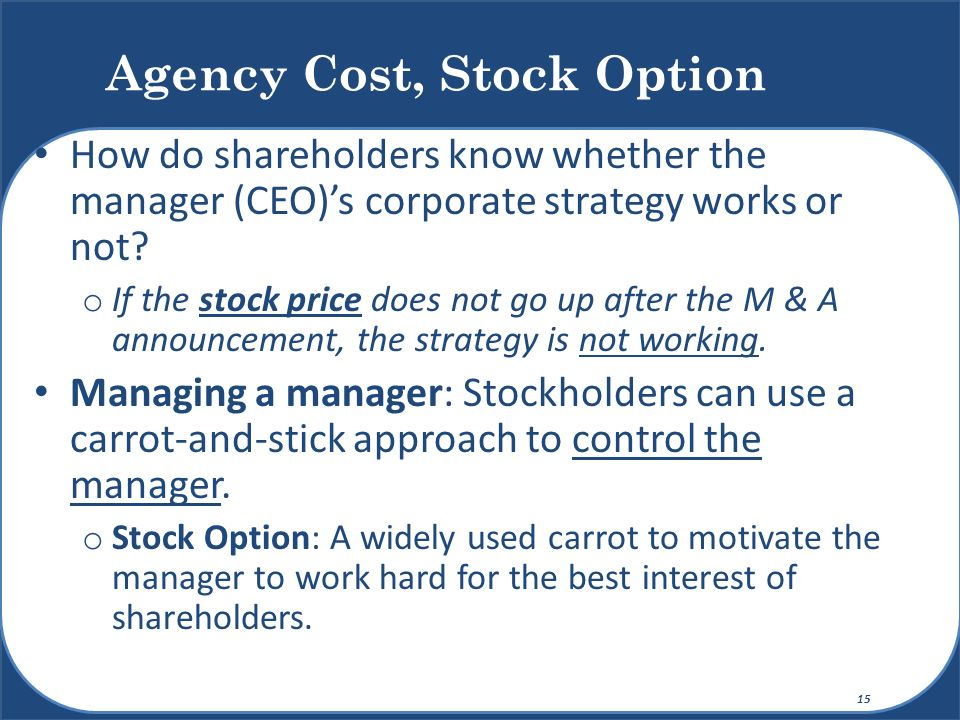 Agency Cost, Stock Option