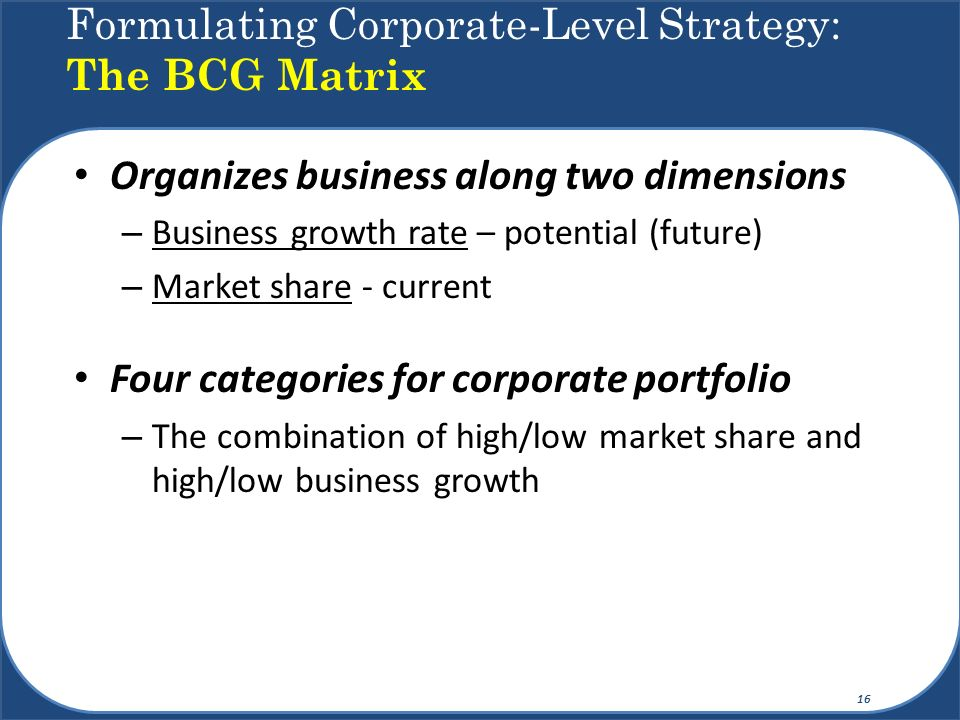 Formulating Corporate-Level Strategy: The BCG Matrix