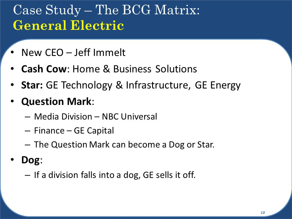 Case Study – The BCG Matrix: General Electric