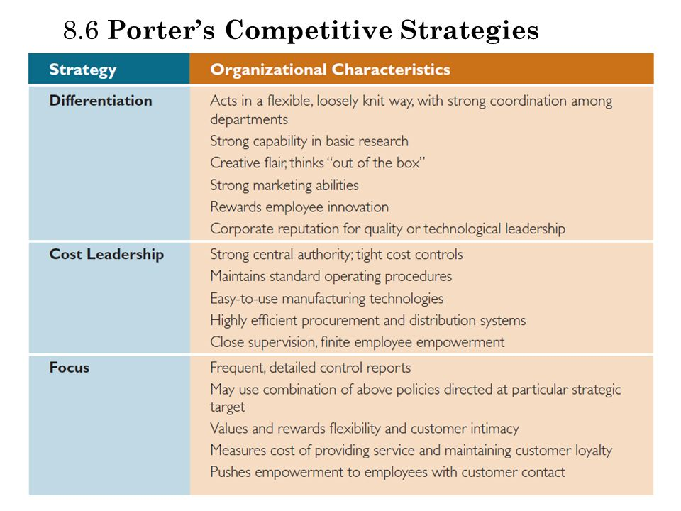8.6 Porter's Competitive Strategies